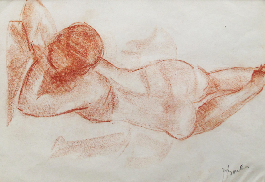 Armand Bouten, rood krijt op papier