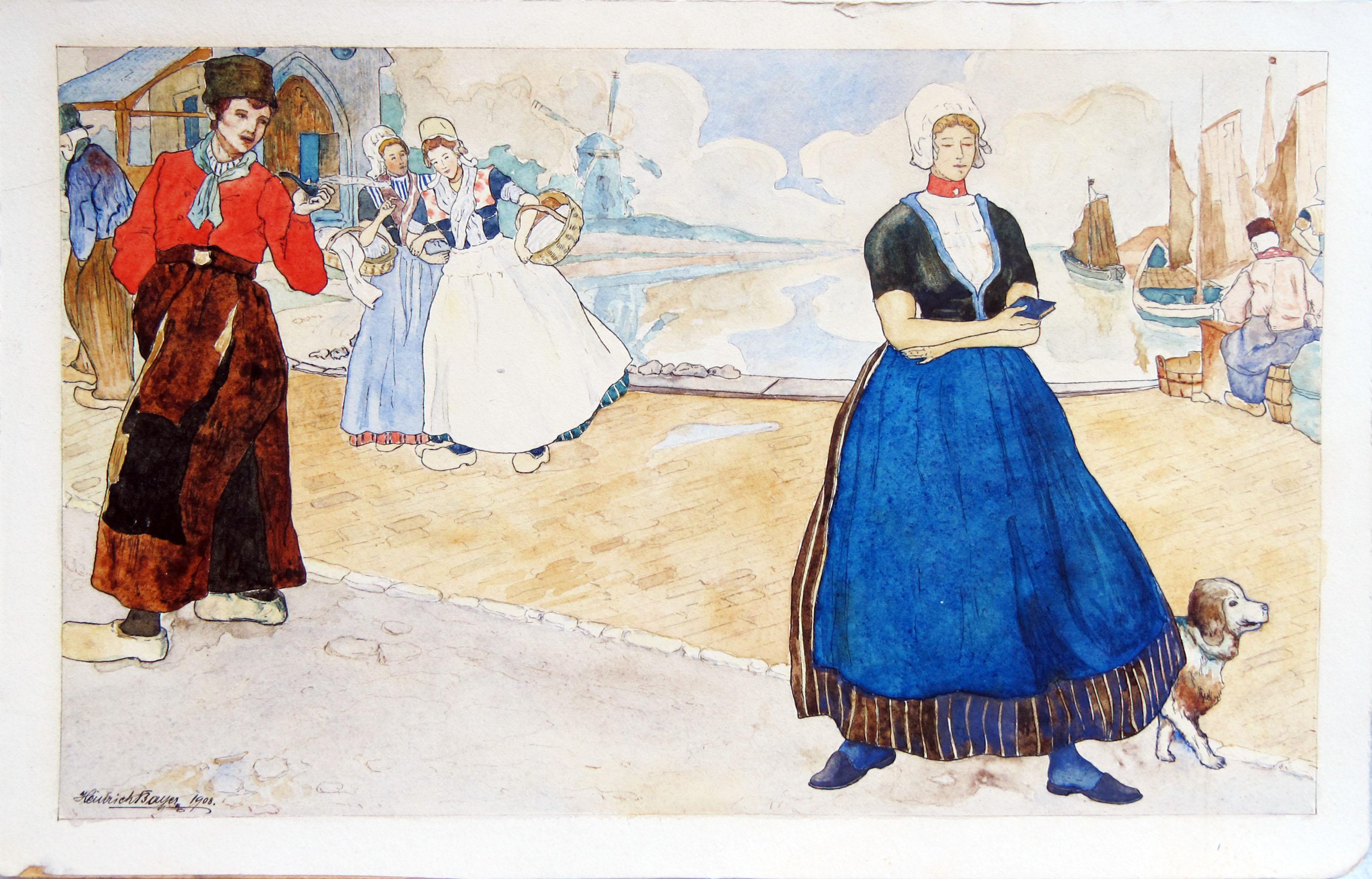 """Heurich Bayer, Volendam, linksonder gesigneerd en gedateerd """"1908"""", aquarel, 19 x 27,5 cm"""