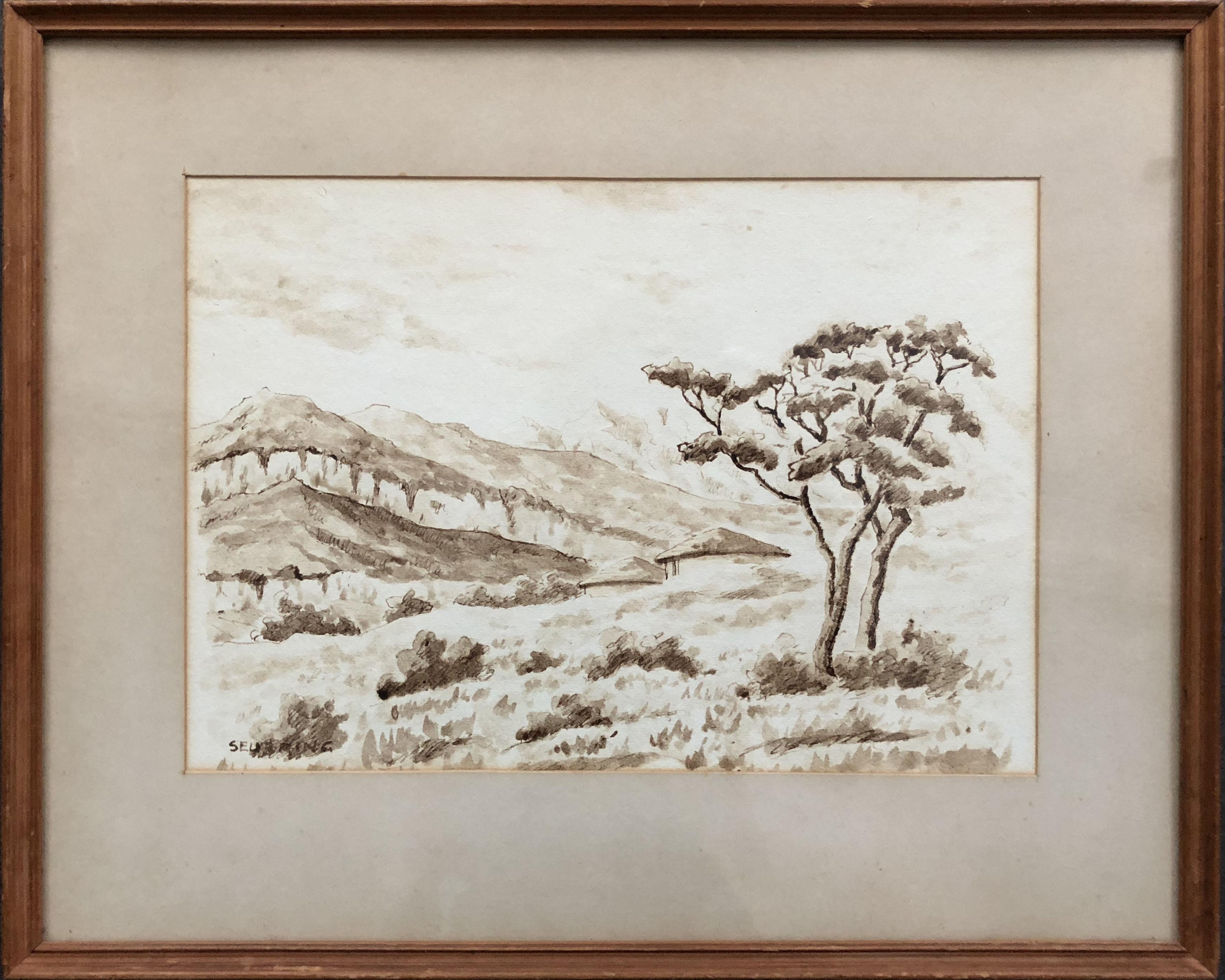 G. Seubring, Afrikaans landschap, linksonder gesigneerd, sepia, 22 x 30 cm