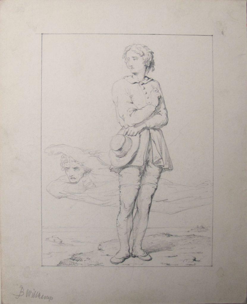 Johan Bernhard Wittkamp (1820-1885),potlood op papier, linksonder gesigneerd, 19 x 15,5 cm