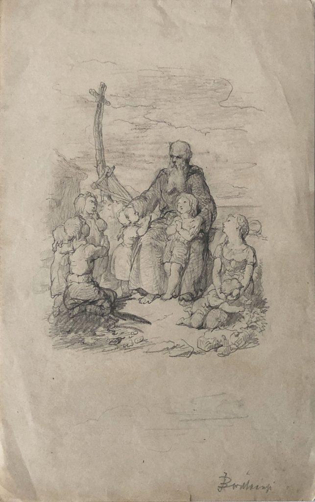 J. B. Wittkamp (1820-1885), vrouw troost man, potlood op papier, rechtsonder gesigneerd, 21,5, x 13,5, cm.